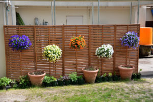 植物園 柵に掛けられた花